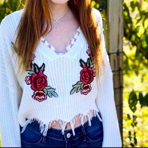 Zaful Cropped Fringed Floral Embroidered Sweater